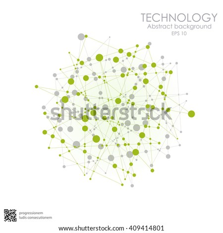 Molecular structure in the form of a sphere. Vector illustration