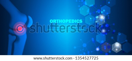 Molecular structure knee bone pain background. Abstract traumatology and orthopedics with molecule DNA. Medical, science and technology, hospital for body joints, anatomy concept. Vector illustration