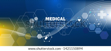 Molecular structure medical background. Abstract blue health care and hospital with molecule DNA.Medical, science and technology, the hospital treatment concept, web page, banner. Vector illustration
