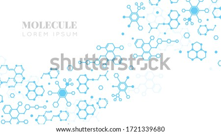 Molecular structure. Medicine researching, DNA or chemistry science. Biotechnology presentation template vector background