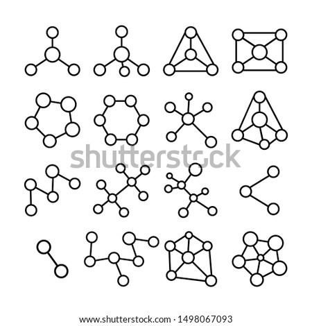 Molecular structures set on white background