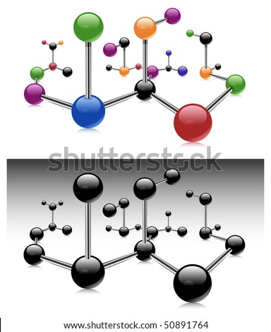Molecule, color isolated elements on white background, vector illustration