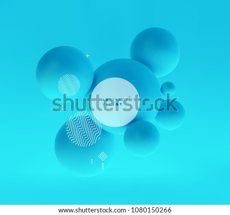 Molecule. 3D concept illustration. Vector template.