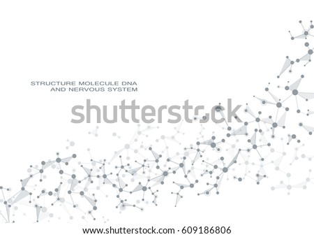 Molecule DNA and neurons vector. Molecular structure. Connected lines with dots. Genetic and chemical compounds. Chemistry, medicine, science, technology concept. Geometric abstract background