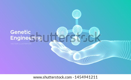 Molecule in hand. Dna, atom, neurons. Molecules and chemical formulas. 3D Scientific molecule background for medicine, science, technology, chemistry, biology. Vector illustration.