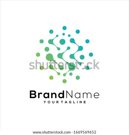 Molecule logo template icon, science genetics logotype, DNA helix. Genetic analysis, research biotech code DNA, molecules. Biotechnology genome chromosome. Vector illustration.