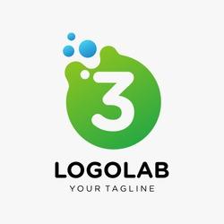molecule number 3 Logo design. Lab Logo Design Element. Design Vector with Dots. - VECTOR