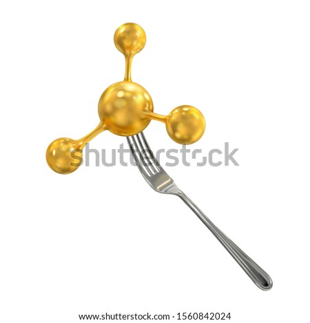 Molecule on a fork. Molecular cuisine. Molecular gastronomy. Nano technology in cooking. Сulinary physics. Vector 3d realistic isolated on white background.