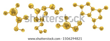 Molecules and molecular crystal lattices. Molecular bonds. Molecules of gold color. Set. Vector abstract 3d illustration of a molecular model isolated on white background.