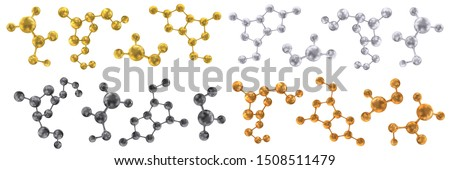 Molecules and molecular crystal lattices of gold, silver, copper or bronze, black coal or dark gray colors. Molecular bonds. Set. Vector abstract 3d illustration of molecular model isolated on white.