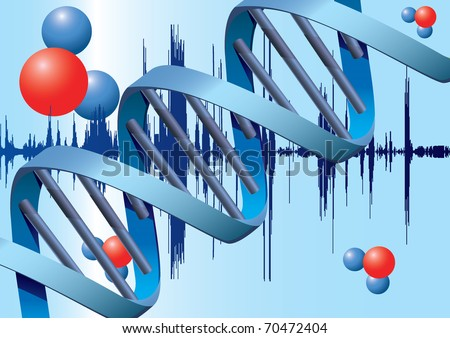 Molecules of DNA with metal background
