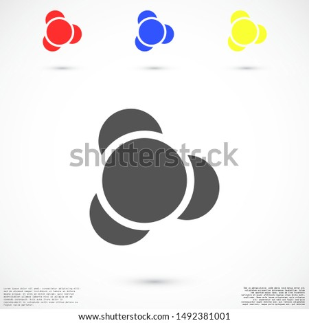 Molecules vector icon. Molecules for the chemistry of icon. Molecules for Dr icon. Molecules for work and sweets design icon