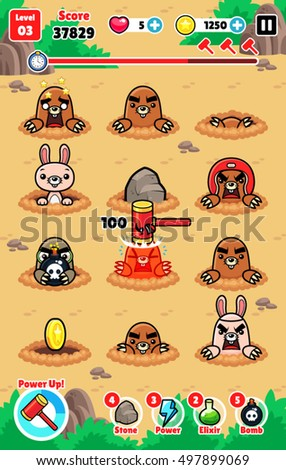 Moles Attack Game Assets Stockfoto ©