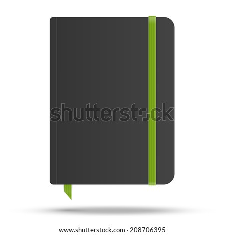 Moleskin notebook with green elastic band vector image