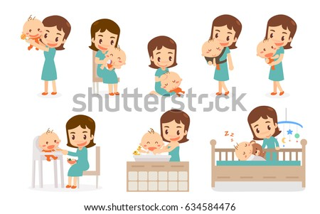 mom and baby flat design mom
