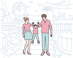 Mom and Dad and the child came to the amusement park. Dad and Mom hold the child's hand and lift it up. hand drawn style vector design illustrations.