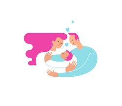 Mom and dad hugging and cuddling their baby boy or girl and nursing him. Parents embracing newborn son and expressing love and care. Modern illustration logo symbol for banner or website. Vector