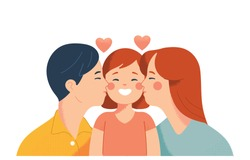 mom and dad kiss their daughter's cheeks with love, vector drawing concept of love and affection for a happy family