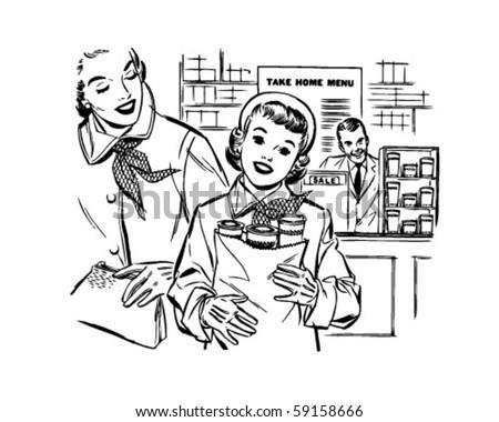 Mom And Daughter Shopping - Retro Clip Art