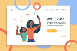 Mom and little daughter taking selfie together. Using smartphone for video call, waving hello flat vector illustration. Motherhood, communication concept for banner, website design or landing web page