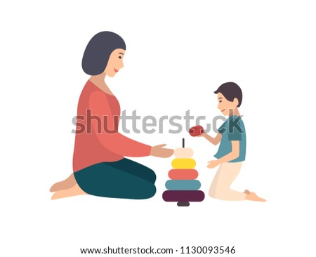 Mom and son sitting on floor and building pyramid together. Mother teaching her little boy to play with toy. Funny cartoon characters isolated on white background. Flat colored vector illustration