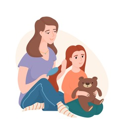 Mom combing her little daughter hair with a brush, both sitting on the floor, flat cartoon vector illustration isolated on white background. Mother and daughter spending time together, brushing hair