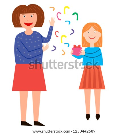 Mom gives her daughter a gift. Holiday gift, clapperboard background. Vector illustration.