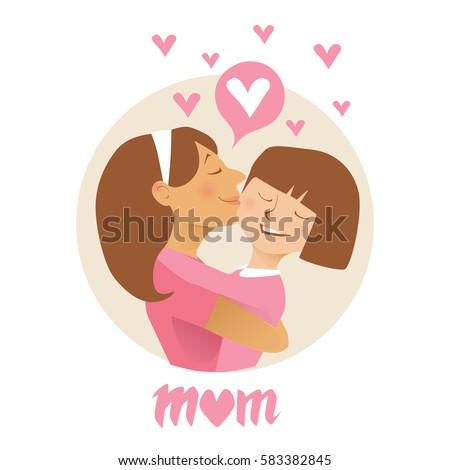 Mom hugs her child.  Flat vector illustration.