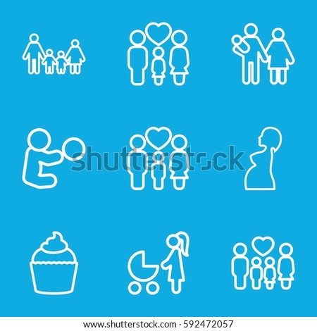 mom icons set. Set of 9 mom outline icons such as muffin, family, pregnant woman, woman with baby carriage, couple with newborn