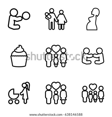 Mom icons set. set of 9 mom outline icons such as muffin, family, pregnant woman, woman with baby carriage