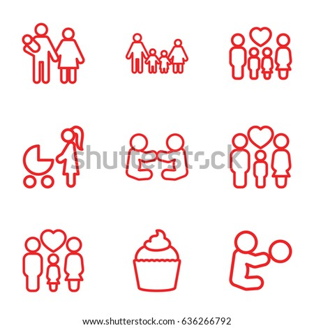 Mom icons set. set of 9 mom outline icons such as muffin, family, woman with baby carriage