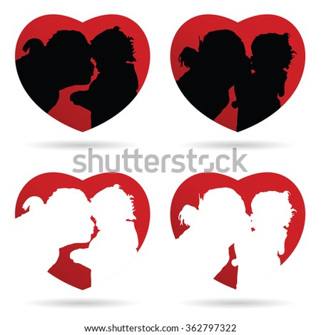 mom kiss child vector in heart