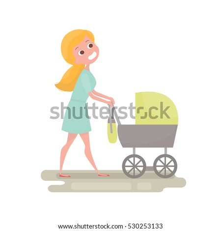 mom pushing her baby in a
