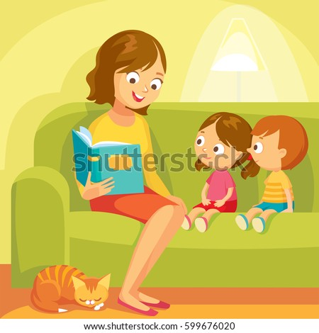 Mom reading for little kids