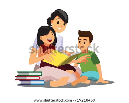 Mom reading for little Son and daughter