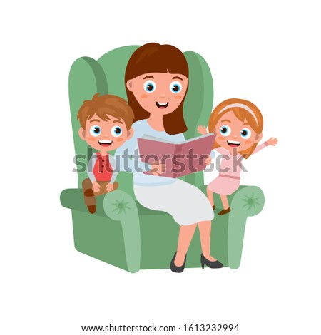 Mom reads a book to her two children. Girl and boy in the room read fairy tales. Children's illustration about a lifestyle.Teacher telling a story in a nursery room.