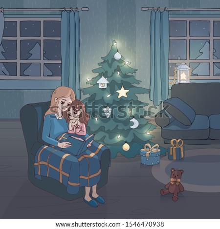 Mom reads a fairy tale to her daughter in the christmas decorated living room. Mother reading a book to her child for the night. Decor element for gift card and kids products. Family life scene.