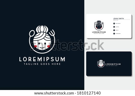 Mom's cooking logo. illustration of mother with a fork and spoon. vector line icon template ストックフォト ©