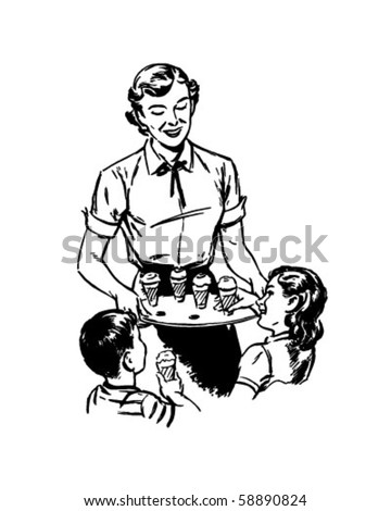 Mom Serving Ice Cream - Retro Clip Art - stock vector