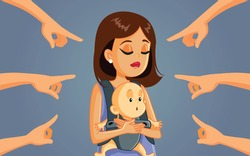 Mom Shaming Concept Vector Cartoon Illustration. Mother being criticized by society for her decision in raising child