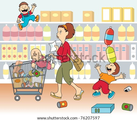 Mom shopping with kids