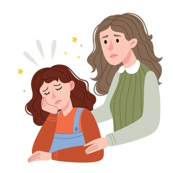Mom supports her daughter.Loving mother comforting her sad young daughter.Illustration for children's book. Simple illustration.