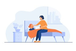 Mom taking care about sick child. Girl getting cold, suffering from flu, lying in bed with sore throat and fever. Vector illustration for childcare, motherhood, epidemic concept