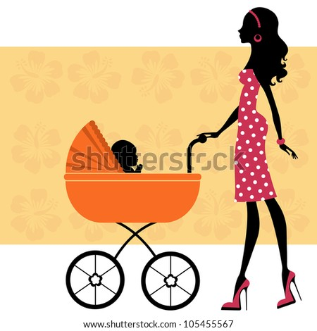 Mom with baby in baby carriage - stock vector