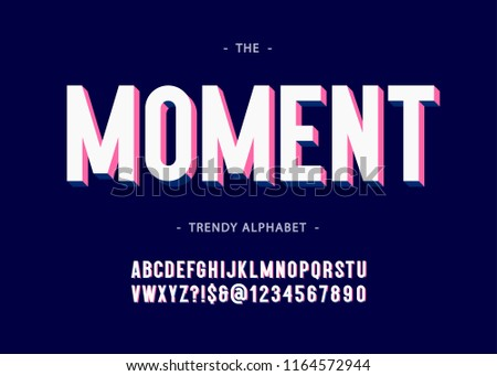 Moment alphabet 3d bold typography sans serif colorful style for poster, decoration, promotion, book, t shirt, sale banner, printing on fabric. Cool modern typeface. Trendy font. Vector 10 eps