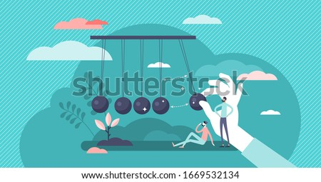 Momentum energy concept, flat tiny person vector illustration. Impulse for action and moving forward with goals metaphor. Symbolic motivation push impact and inner drive for success. Inertia force. Сток-фото ©