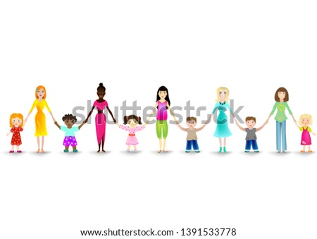 Moms with their children on a white background. Mothers Day. Women of different ethnicities with daughters and sons. Girls and boys hold the hands of their moms. Friendly team of women with children.