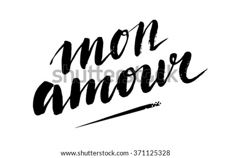 mon amour handdrawn text for greeting card and poster