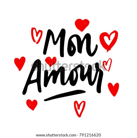 Mon Amour lettering, hearts illustration. My Love in French hand drawn calligraphy quote. Valentine's day. Red on white.