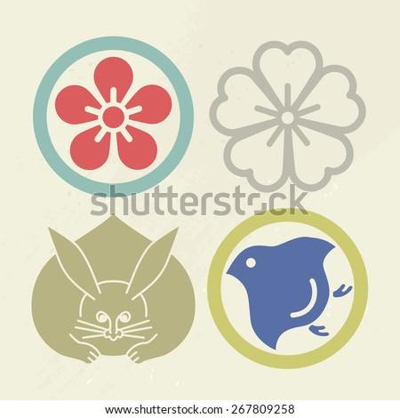Mon Japanese Emblem Pop color Vector symbol